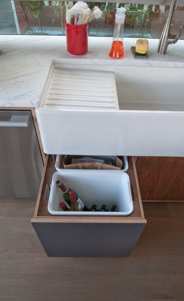 Custom Under Sink Garbage Bin Push Latch Drawer Made Of Walnut