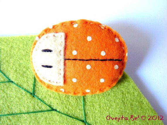 Ladybug felt brooch in orange by ovejitabe on Etsy