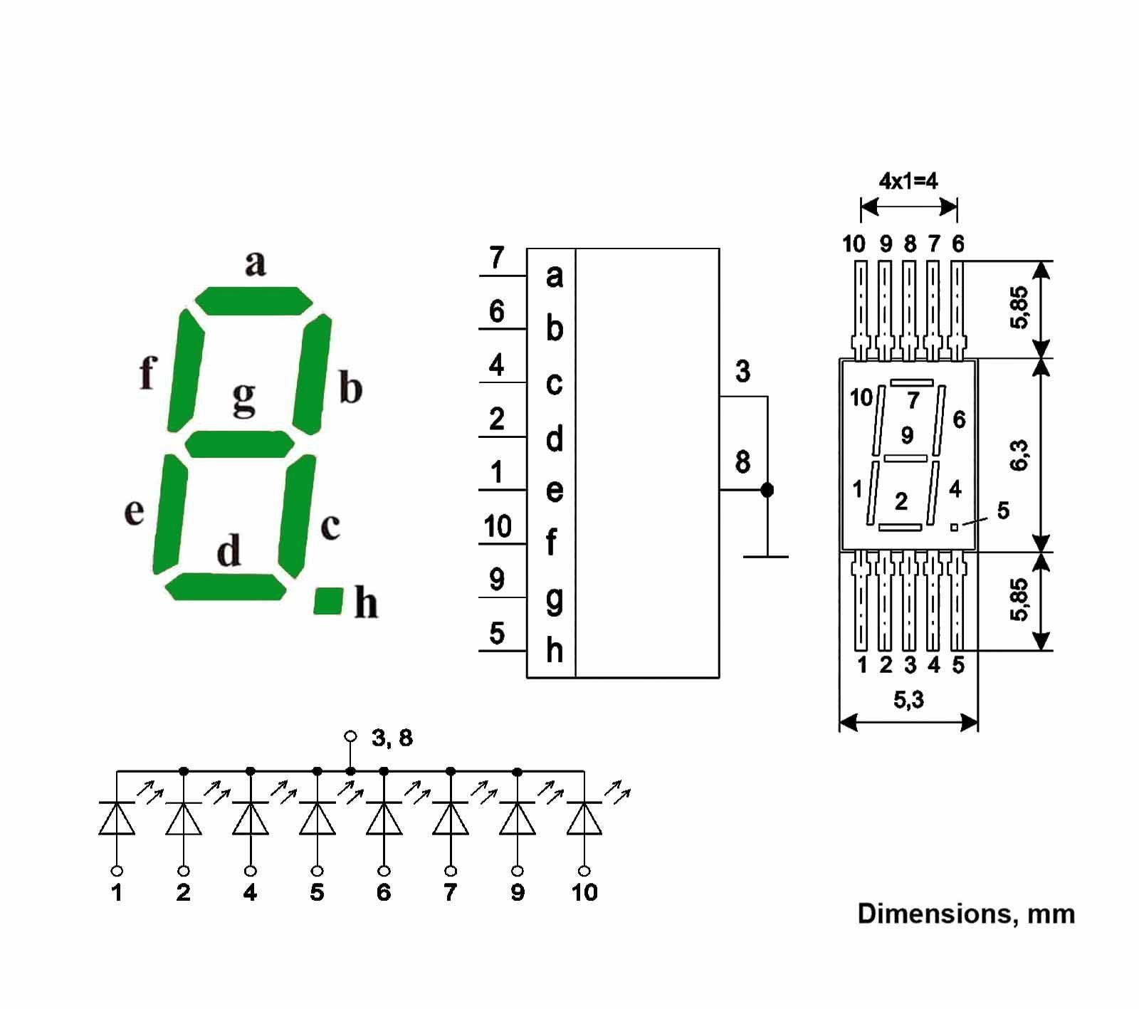 7 Segment Numeric Led Display Green Digital L104v