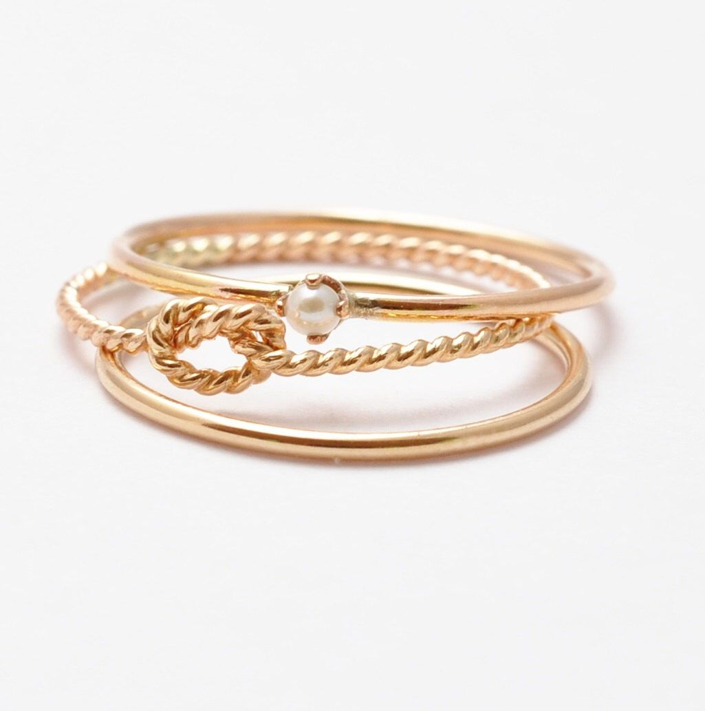 Pearl rings gold birthstone stacking rings simple gold rings thin