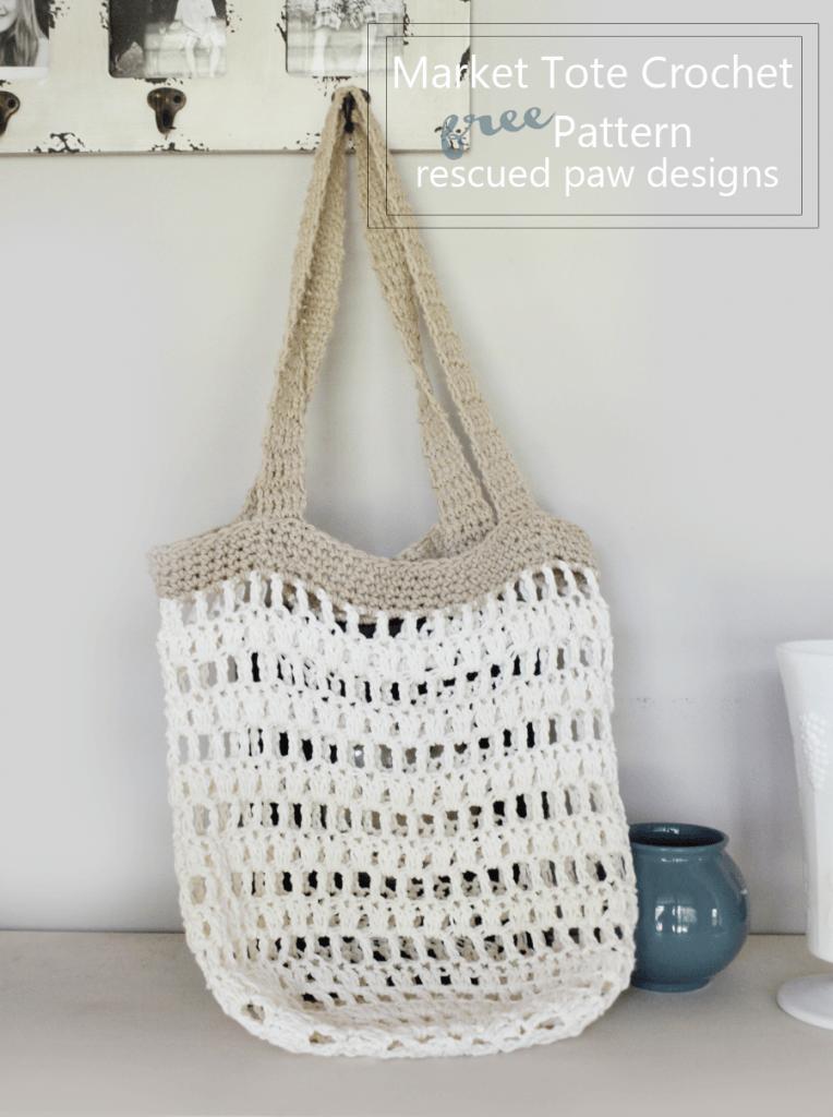 Market tote crochet pattern Rescued Paw Designs - Market Tote Bag Crochet Pattern