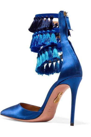 + Claudia Schiffer Loulous Tasseled Satin Pumps - Blue Aquazzura E4cK6