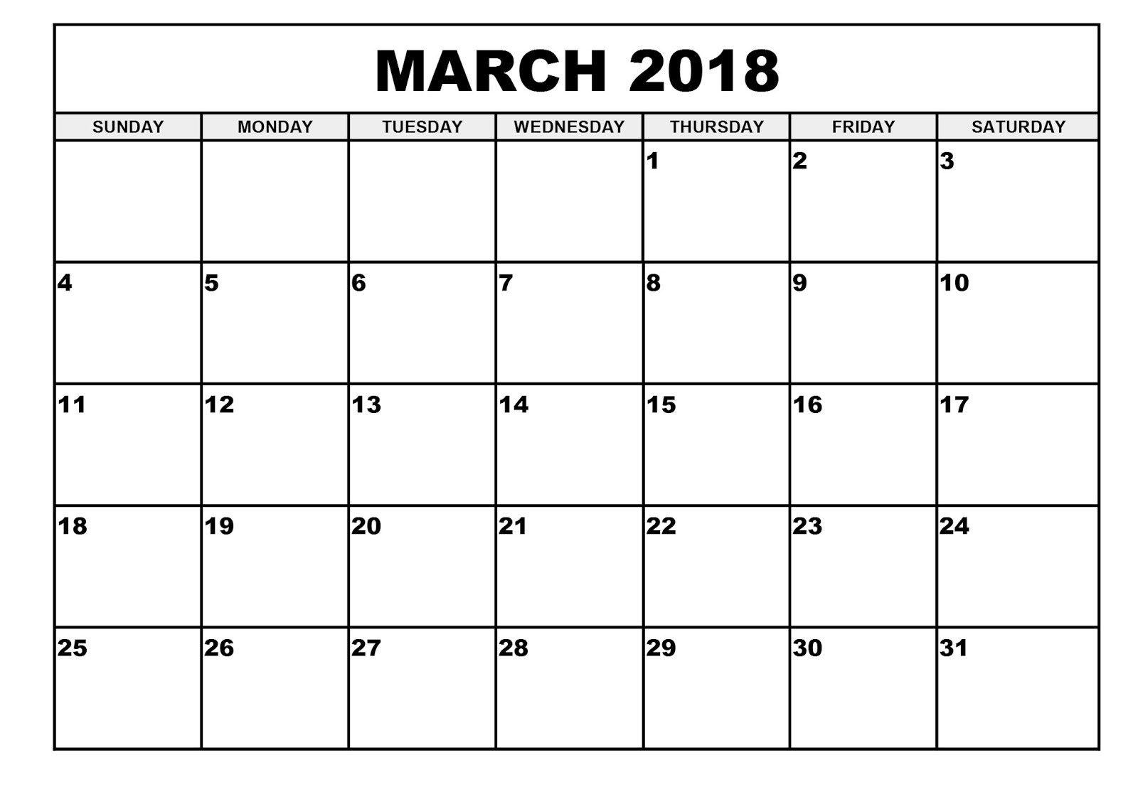 March 2018 calendar | March 2018 Calendar | Pinterest | March, Calendar printable and Holidays