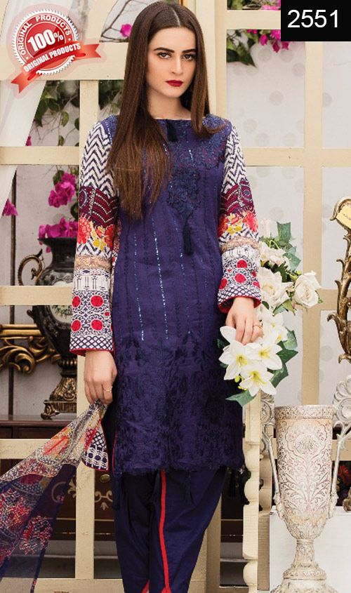 Wyhr 2551 Front Embroidery Designer 3pc Lawn Suit With Net Dupatta