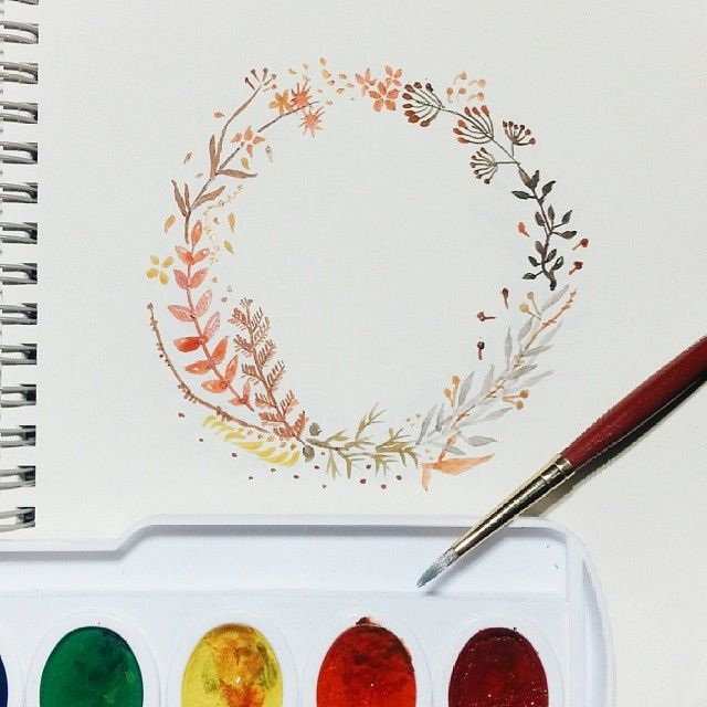 I think I'm going to make a serie out of these wreath, just waiting for my new nibs to be delivered. Pretty excited about this little project :) #calligrafikas #dreweuropeo #grafikas #watercolor #wreath #calligraphy