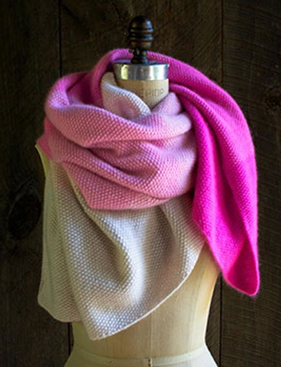 Cashmere Ombr Wrap Now in Plum sewing Purl soho