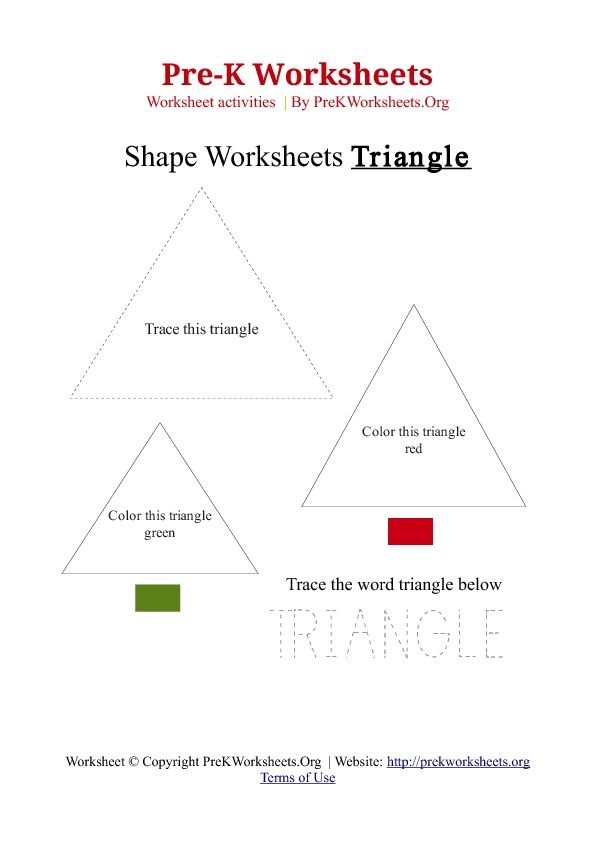 Read Article: Pre-K Triangle Shape Activity Worksheet | CJ ...