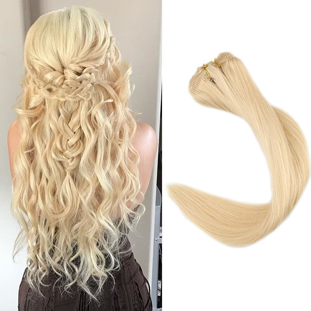 9Pcs Clip in Human Hair Extensions Color613 150g 2628