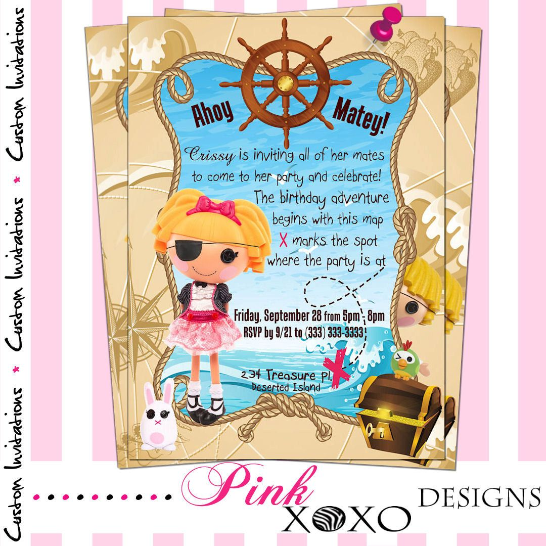 Lalaloopsy Pirate Girl Birthday Party Invitation - Girls Printable ...