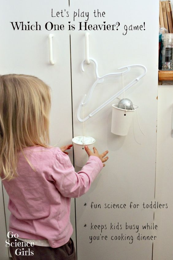 'Which one is heavier?' game - fun balance scales science for toddlers and preschoolers from Go Science Girls.