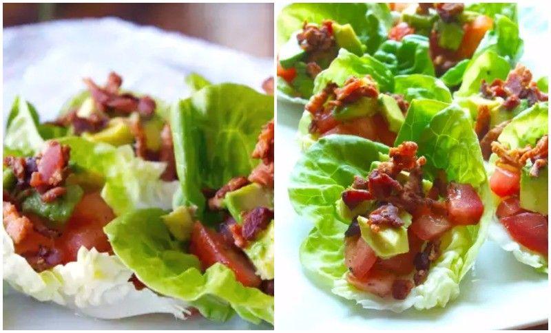 Receta lechuga con aguacate, tomate y bacon crujiente