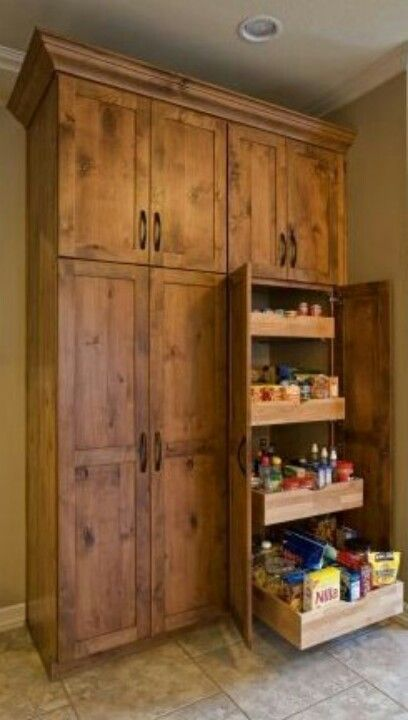 Floor To Ceiling Pantry Cabinets With Pull Out Shelving Have This In My Kitchen Around The Refrigera Pantry Design Pantry Cabinet Free Standing Pantry Cabinet