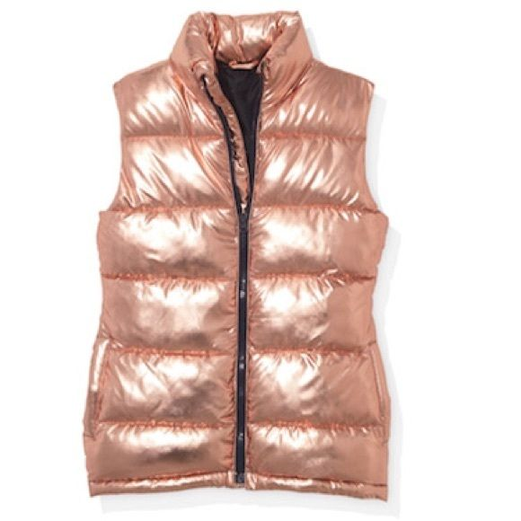 387acf88a Material Girl Rose Gold Vest Great puffer vest in rose gold/bronze gold  color. Size L. Back measures 28