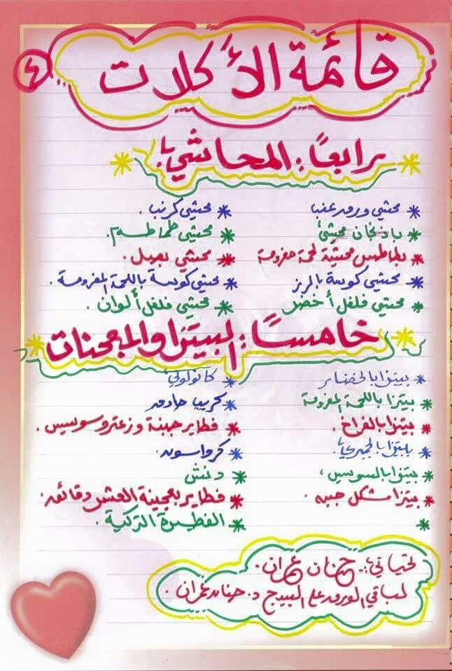 جدول اكلات رمضان Ramadan Recipes Food Receipes Egyptian Food