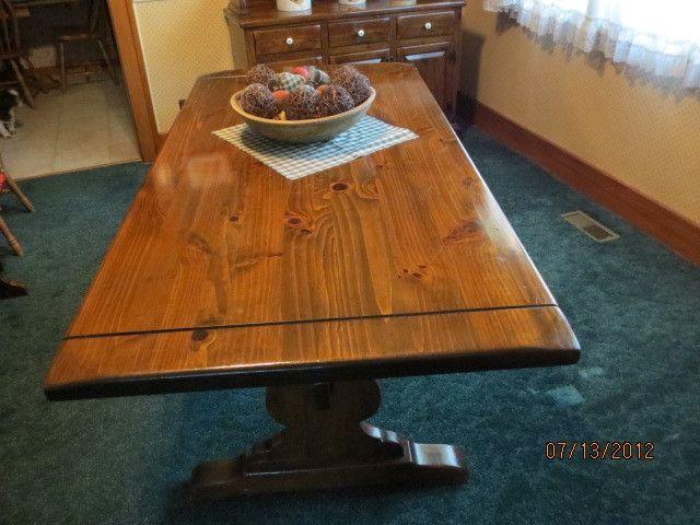 Ethan Allen antique pine distressed finish trestle table | eBay - Ethan Allen Antique Pine Distressed Finish Trestle Table EBay