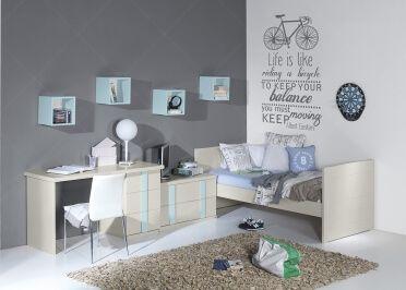 Chambre design et de qualite pour adolescent ou etudiant avec lit