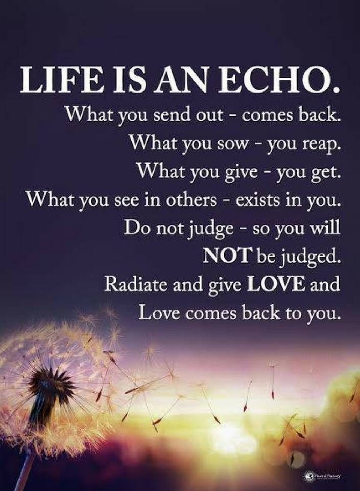 Life Is An Echo Quote Awesome Life Quotes Life Is An Echowhat You Sent Out Comes Back What You
