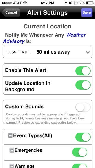 Top iPhone Game 120 NOAA Weather Alerts Severe Weather