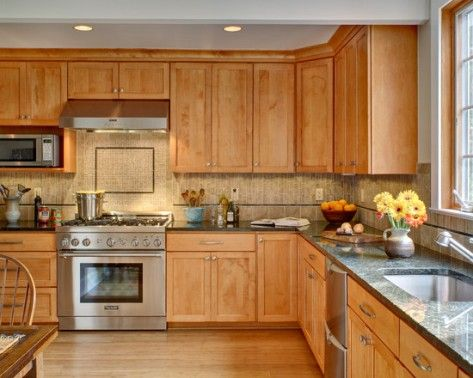 Wall color match for Maple Cabinets - For more go to ... on What Color Granite Goes With Honey Maple Cabinets  id=90516