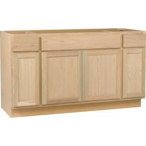 60x34 5x24 In Sink Base Cabinet In Unfinished Oak Unfinished Kitchen Cabinets Home Depot Kitchen Base Cabinets