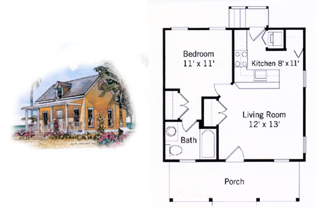 500 square foot house plans 500 sq ft cottage hana for Houses under 500 square feet