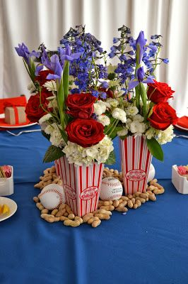 baseball baby shower center pieces