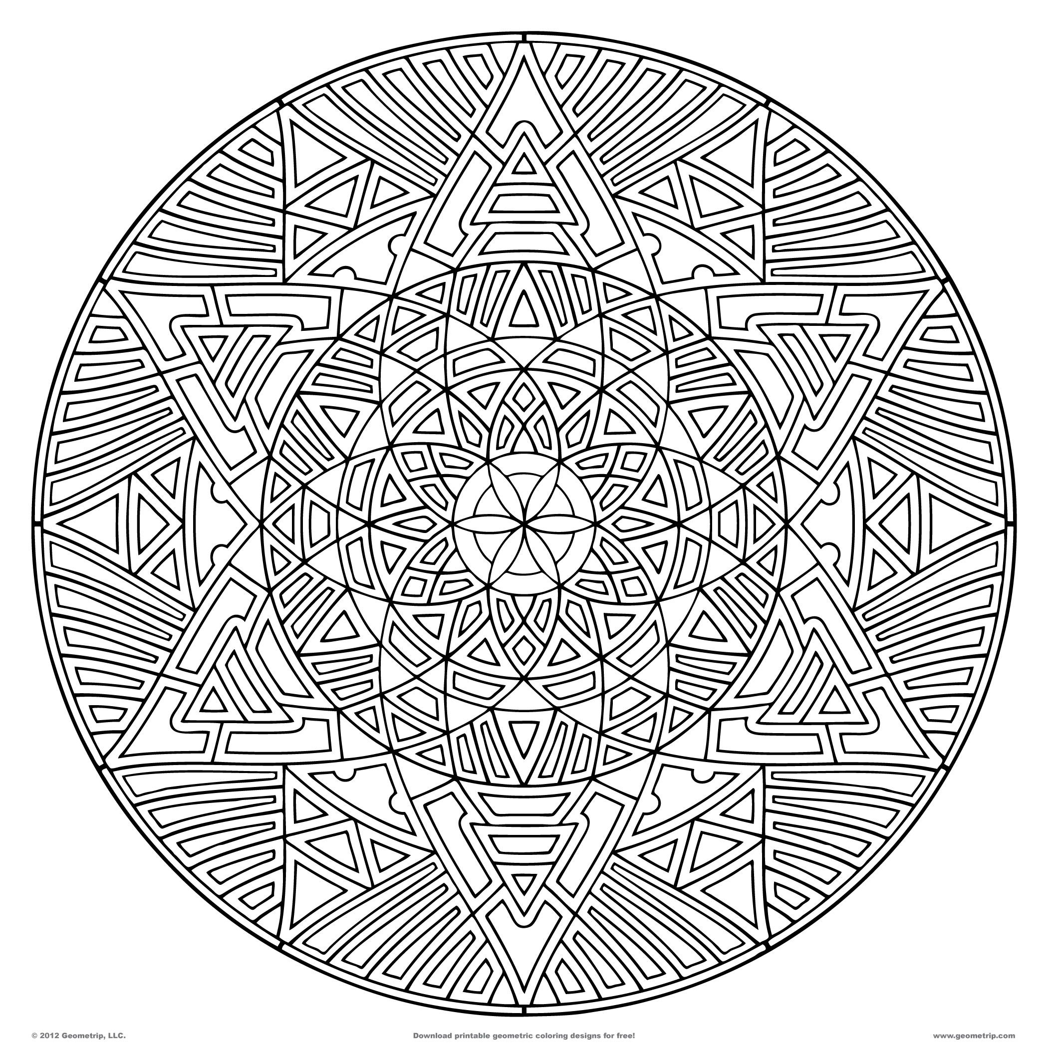 geometric coloring pages for adults printable download pdf jpg - Geometric Coloring Pages