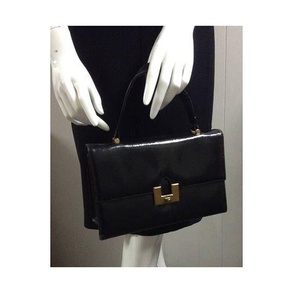On Elegant Vintage 1960s Bernard Original Handbag With Brass Tone Clasp Short Handle Vegan Black Purse Made In Canada