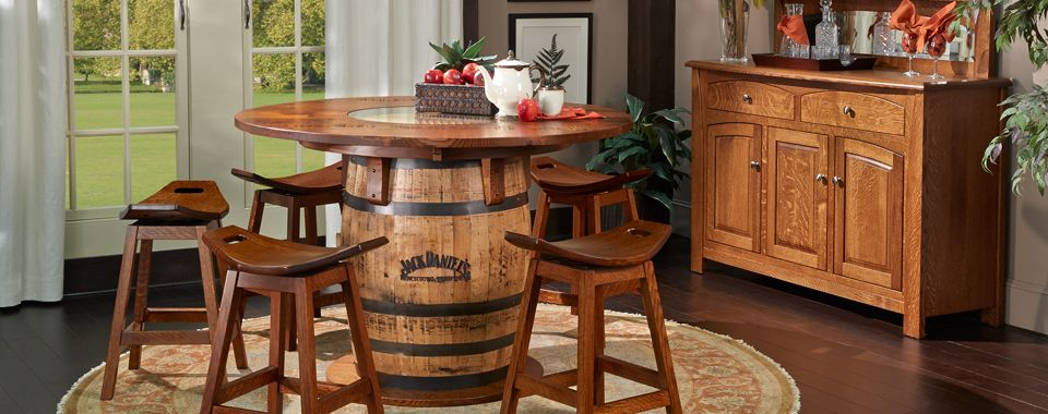 Gallery USA Jack Daniels Whiskey Barrel Counter Height Dining Room