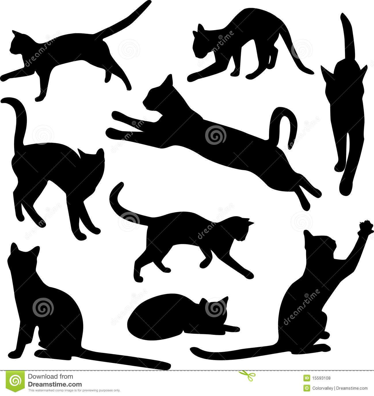 Vector Collection Of Cat Silhouettes Download From Over