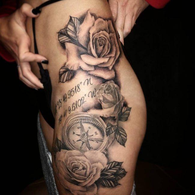 75 Rose und Kompass Tattoo-Designs und Tipps zur Auswahl (2018)