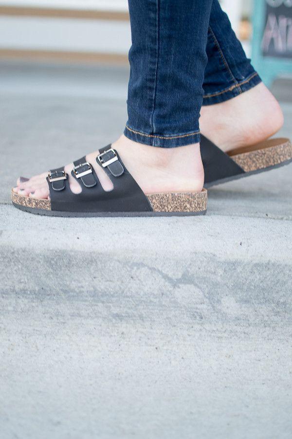 2e60fb8beb07 Black birkenstock style 3 strap buckle sandal