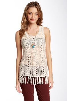 Lucky Brand Fringe Sweater Tank - cute for spring & summer. Mix it up with different under-tops and bralettes. nordstromrack.com