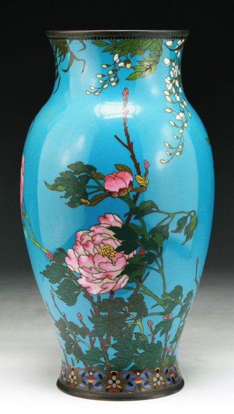 A Japanese Antique Silver Ando Cloisonne Vase On Japanese Pottery