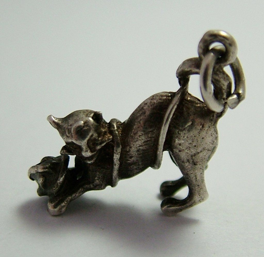 5b0abc11c 1960's Solid Silver Cat Playing with Ball of Wool Charm | Charms ...