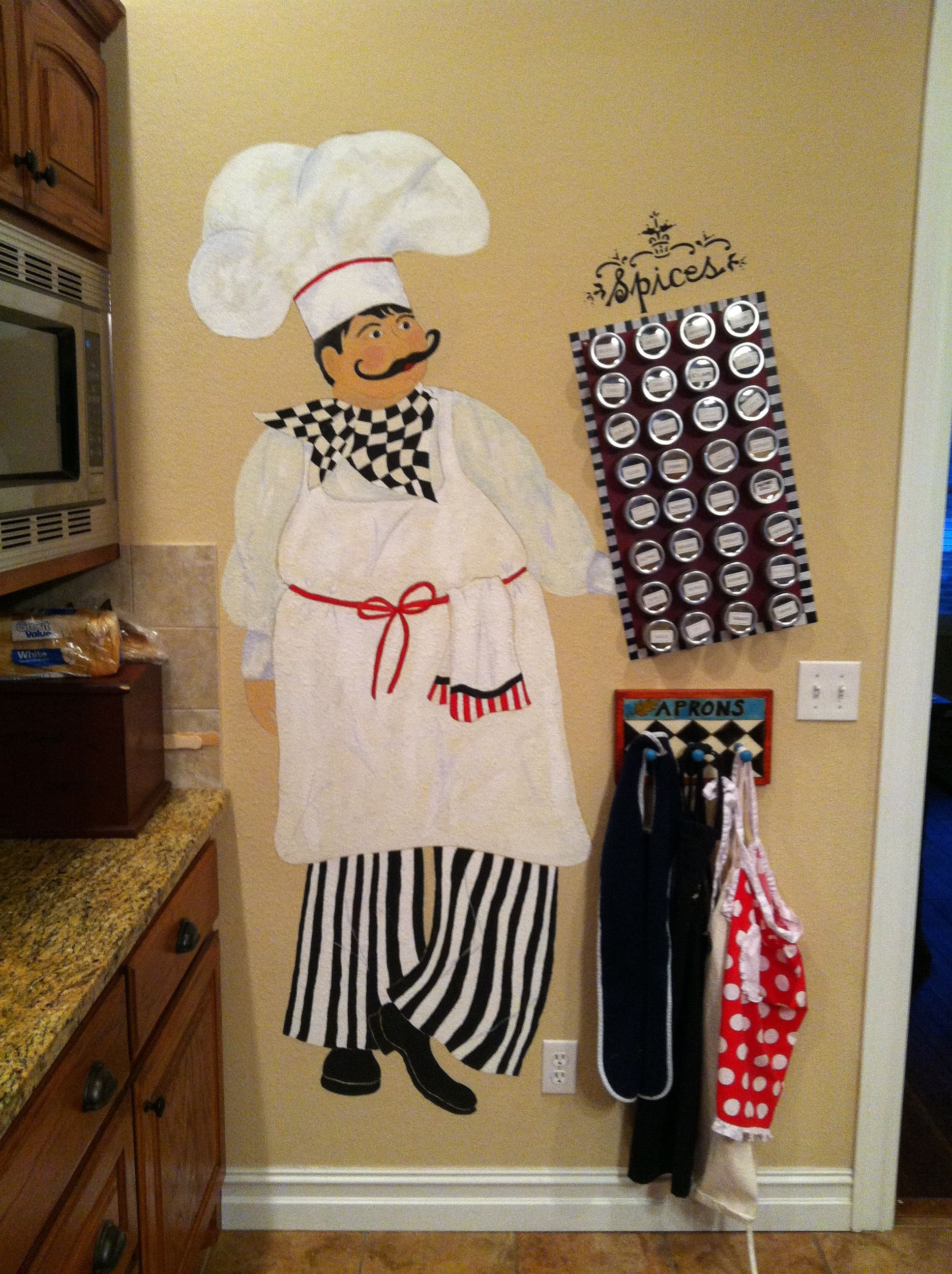For a fat chef themed kitchen. Complete with magnetic spice ...