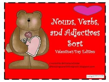 nouns verbs and adjectives sort valentine 39 s day edition very valentine class activities. Black Bedroom Furniture Sets. Home Design Ideas