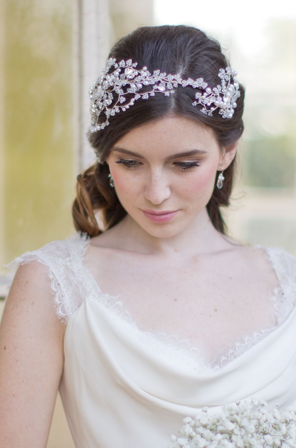 Hermione Harbutt Grace Grande Headdress. Pearl and Swarovski crystal tendrils…