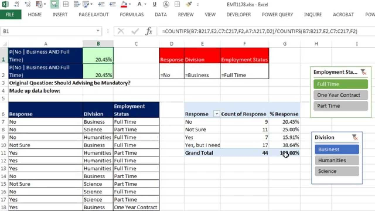 Excel Magic Trick 1178 Conditional / AND Percentage