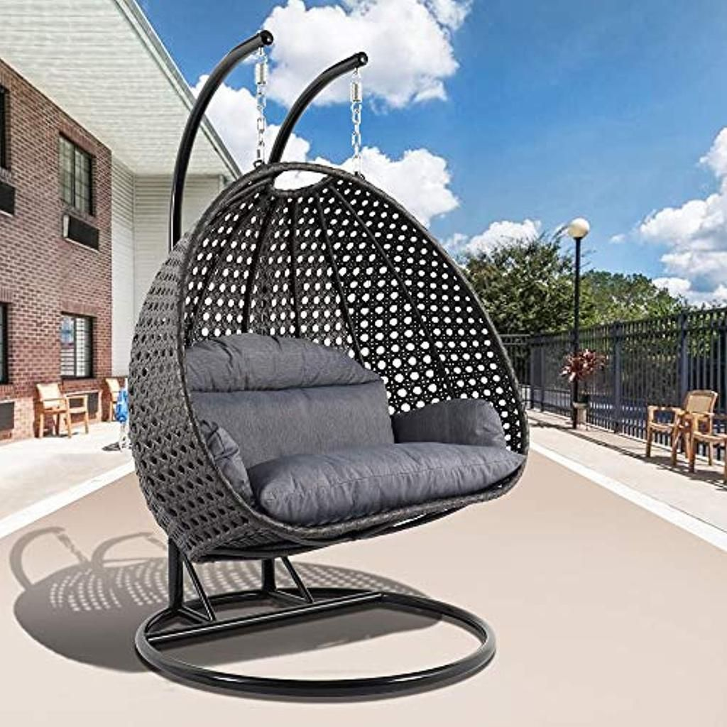 Wicker Hanging 2 Person Egg Swing Chair with Outdoor Cover