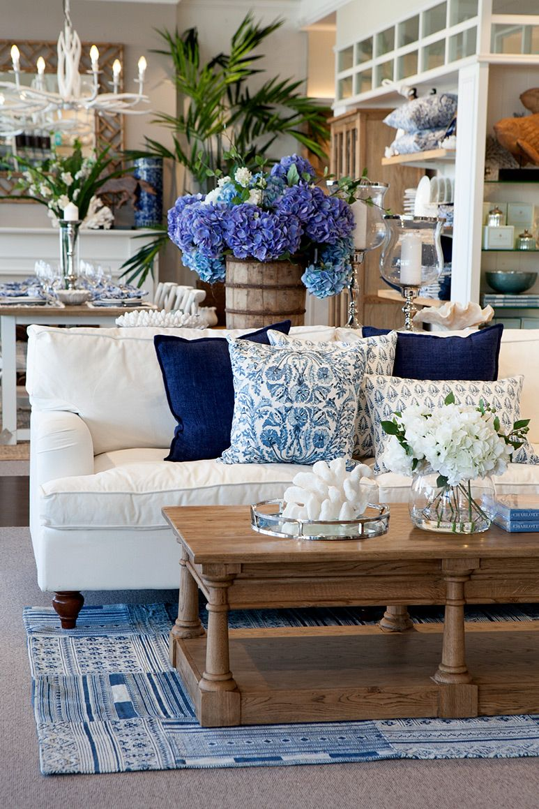 stunning east hampton living room design | A Hampton inspired living room with blue and white. | Blue ...