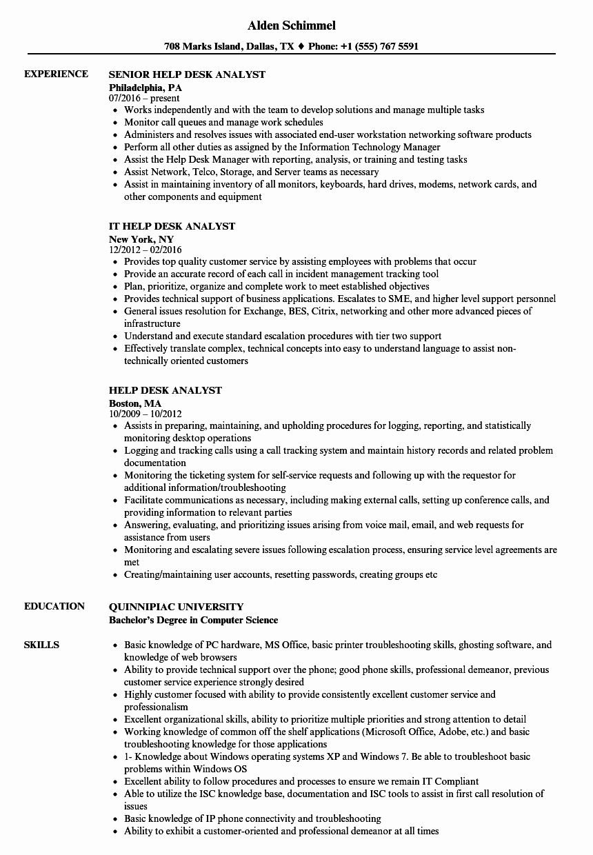 It Support Analyst Resume Fresh Sample Resume Help Desk