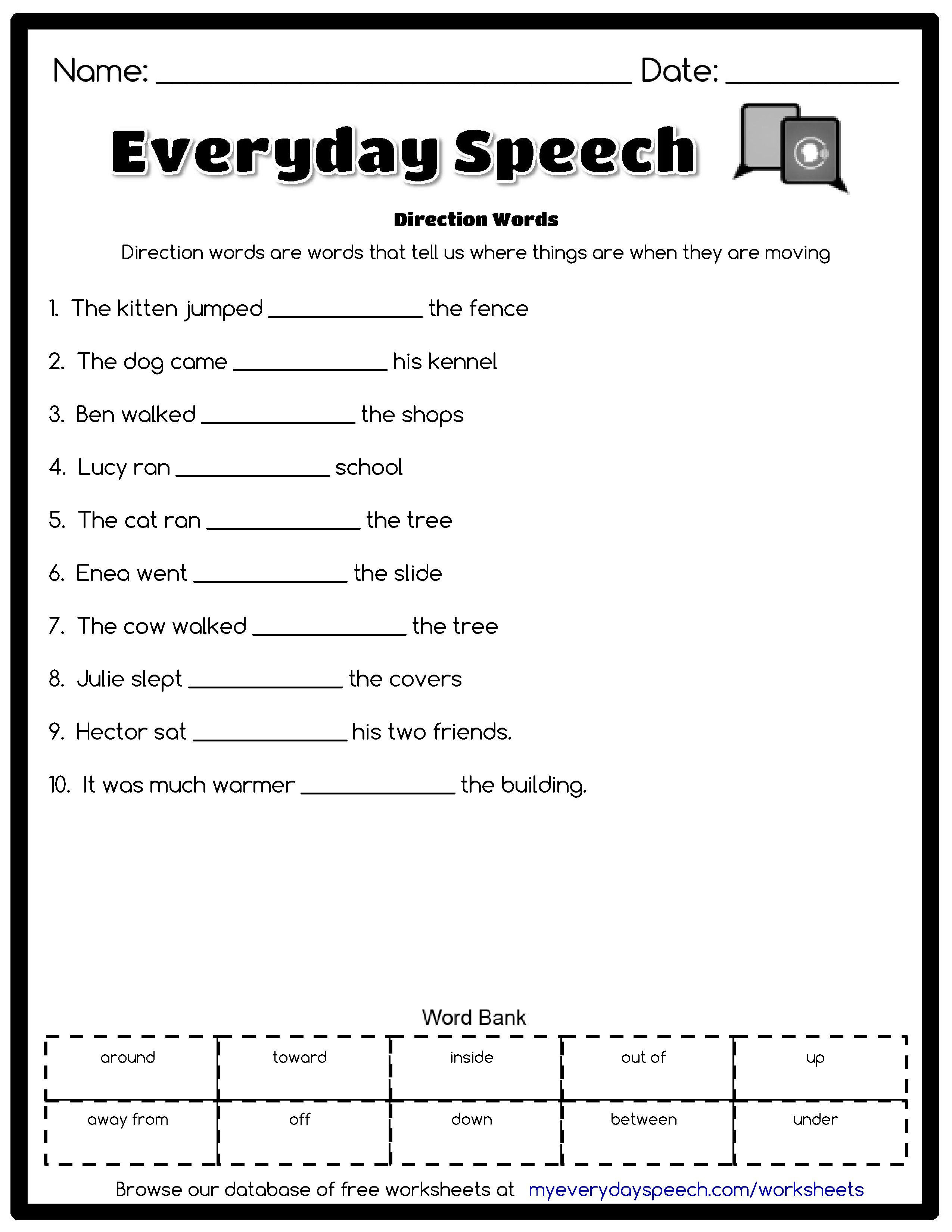 Check out the worksheet I just made using Everyday Speech's worksheet  creator! Direction Words - Direction words are wor…   Speech therapy  worksheets [ 3300 x 2550 Pixel ]