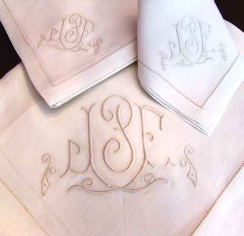Custom Couture Monogrammed Napkins, Placemats, Table Cloths And Table  Runners On Fine Hemstitched Linens