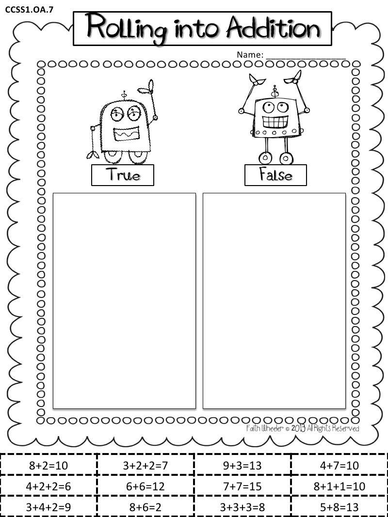01 07 13 My Robot Freebies Pdf Math School Math Addition Math [ 1067 x 800 Pixel ]