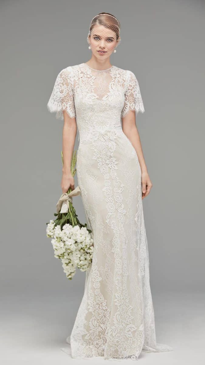 Lace Wedding Dress With Capelet Jael By Watters Capelet Lace - Flutter Sleeve Wedding Dress