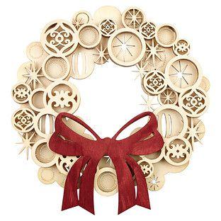 wooden ornaments wreath christmas pinterest laser navidad y articulos de navidad. Black Bedroom Furniture Sets. Home Design Ideas