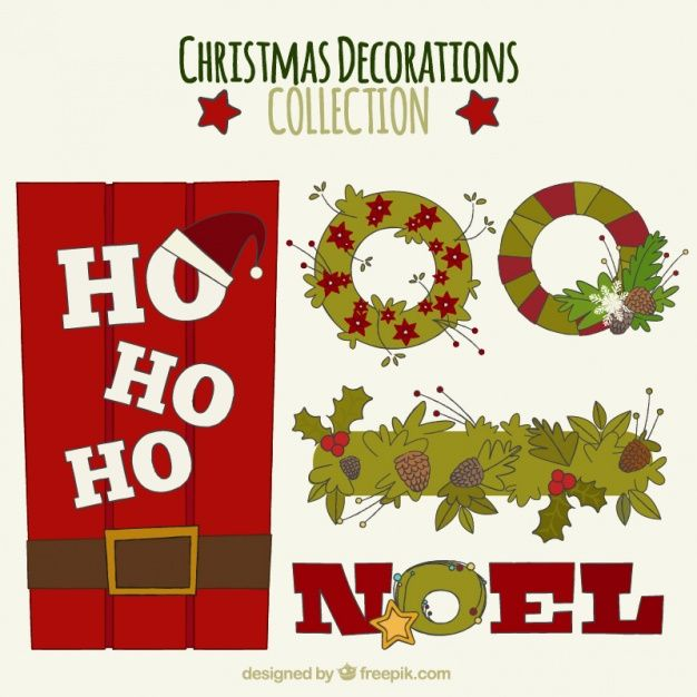 Set of hand-drawn christmas decoration Free Vector