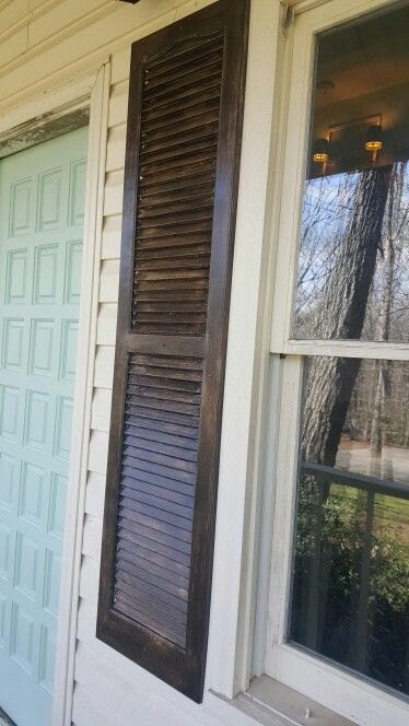 Stained And Distressed Plastic Shutters Made To Look Like