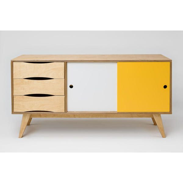 sideboard kommode sosixties in holz gelb wei f r esszimmer im skandinavischen design. Black Bedroom Furniture Sets. Home Design Ideas